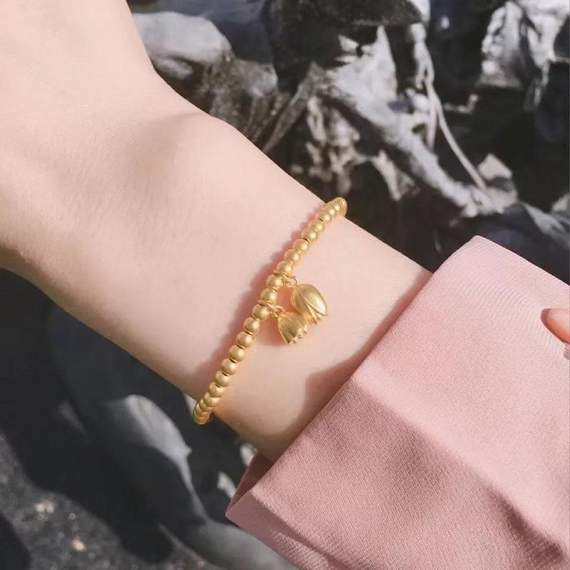 周家同款两世欢手链女黄金色传承合合莲心莲蓬转运珠手饰专柜inss
