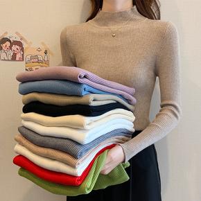 2020年春秋新款半高领修身紧身内搭针织衫女士洋气长袖毛衣打底衫