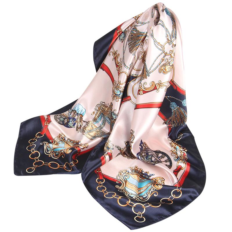 夏季防晒大方巾90x90正方形围巾薄款装饰发带两用纱巾丝巾小披肩