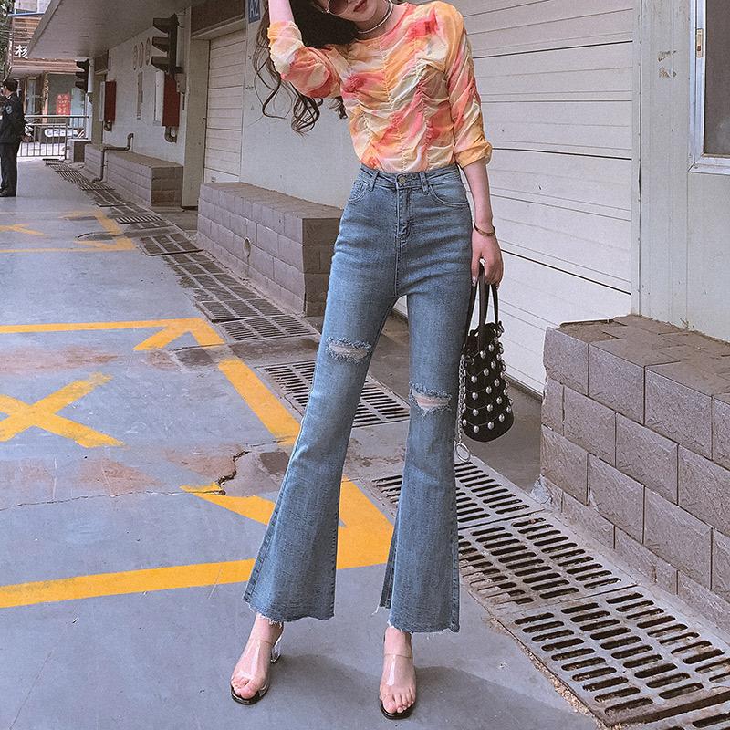 网红高腰喇叭裤女夏九分显瘦2020新款韩版薄破洞微喇牛仔裤宽松潮
