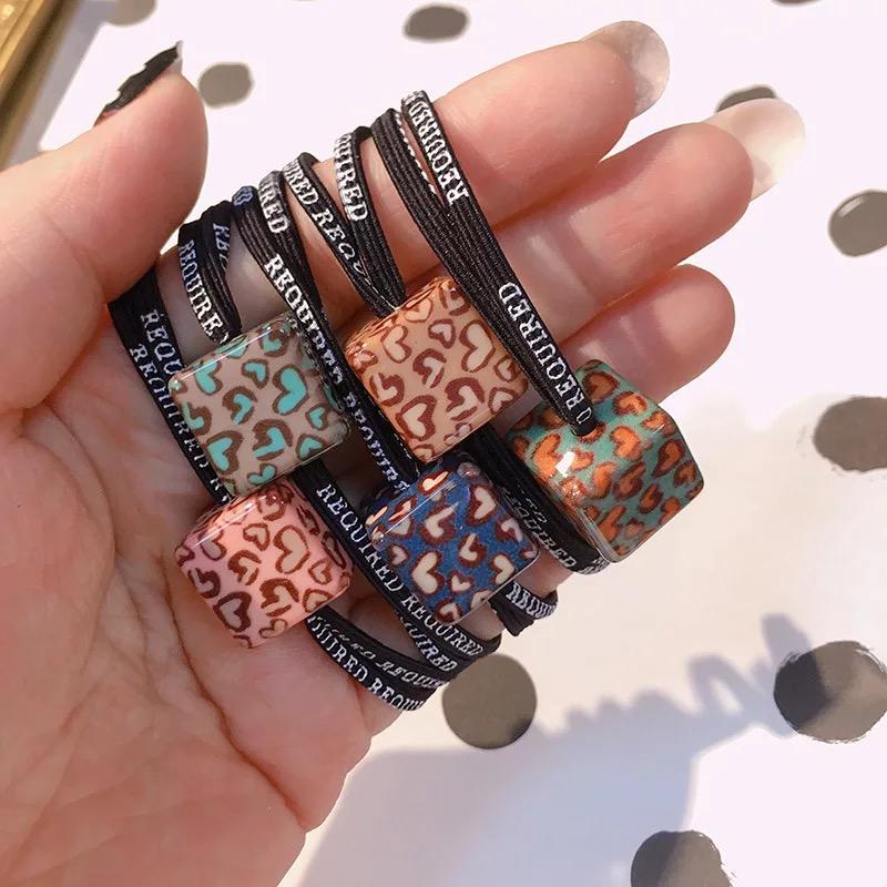韩风时尚个性豹纹发绳亚克力几何方块发圈头绳扎马尾皮筋韩国发饰