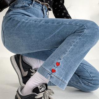 开叉爱心九分牛仔裤新款2021大码女装宽松高腰显瘦胖妹妹mm秋装