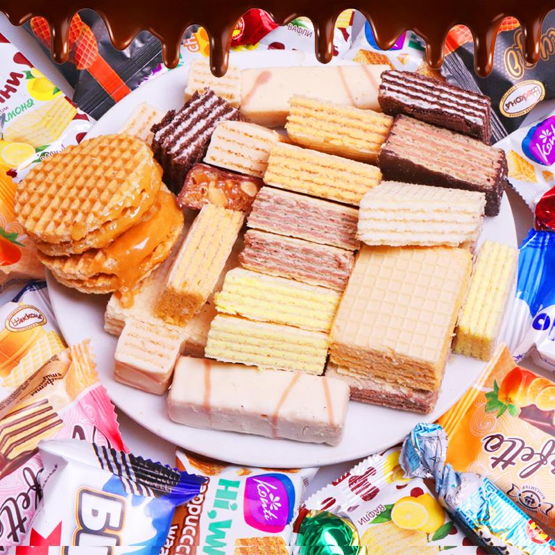 2斤装俄罗斯威化组合混合装大牛巧克力饼干年货休闲零食品包邮