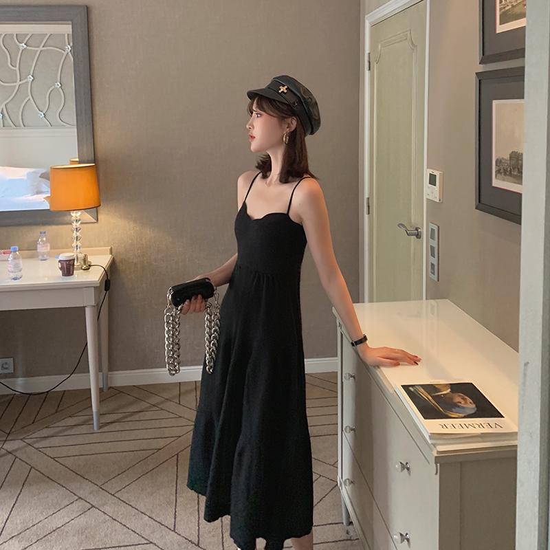 热销627件正品保证于momo2019秋季新款心机针织吊带裙女长款高腰显瘦性感内搭连衣裙
