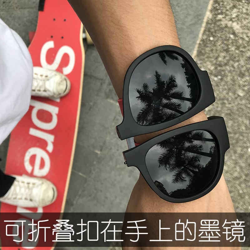 European and American folding Pa Pa glasses sunglasses fashionable men color driving personality portable Sunglasses convenient for tourists