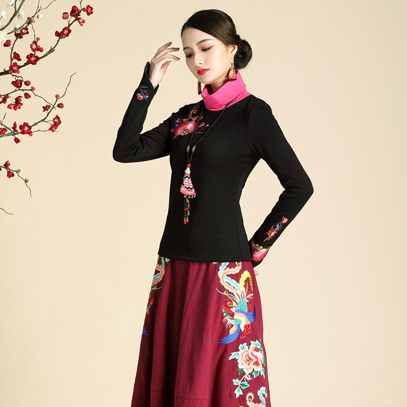 中国云南民族风女装上衣刺绣高领加绒保暖打底衫秋冬装女2018新款