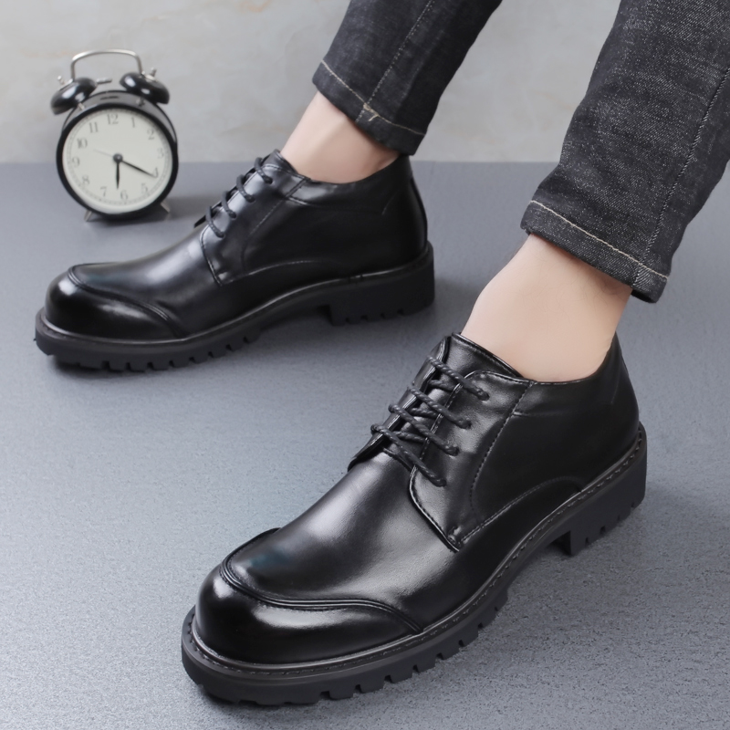 Korean mens high top leather shoes mens leisure business formal wear round toe leather shoes with increased inner short boots autumn British leather boots