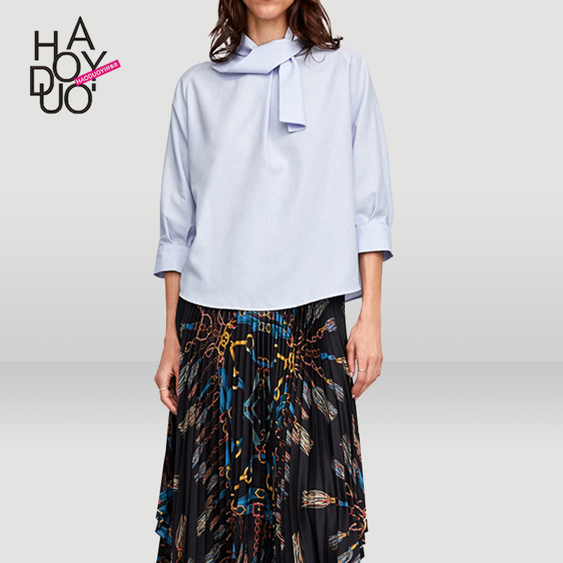 Haoduoyi欧美简约通勤立领双蝴蝶结装饰袖口打褶七分袖衬衫上衣