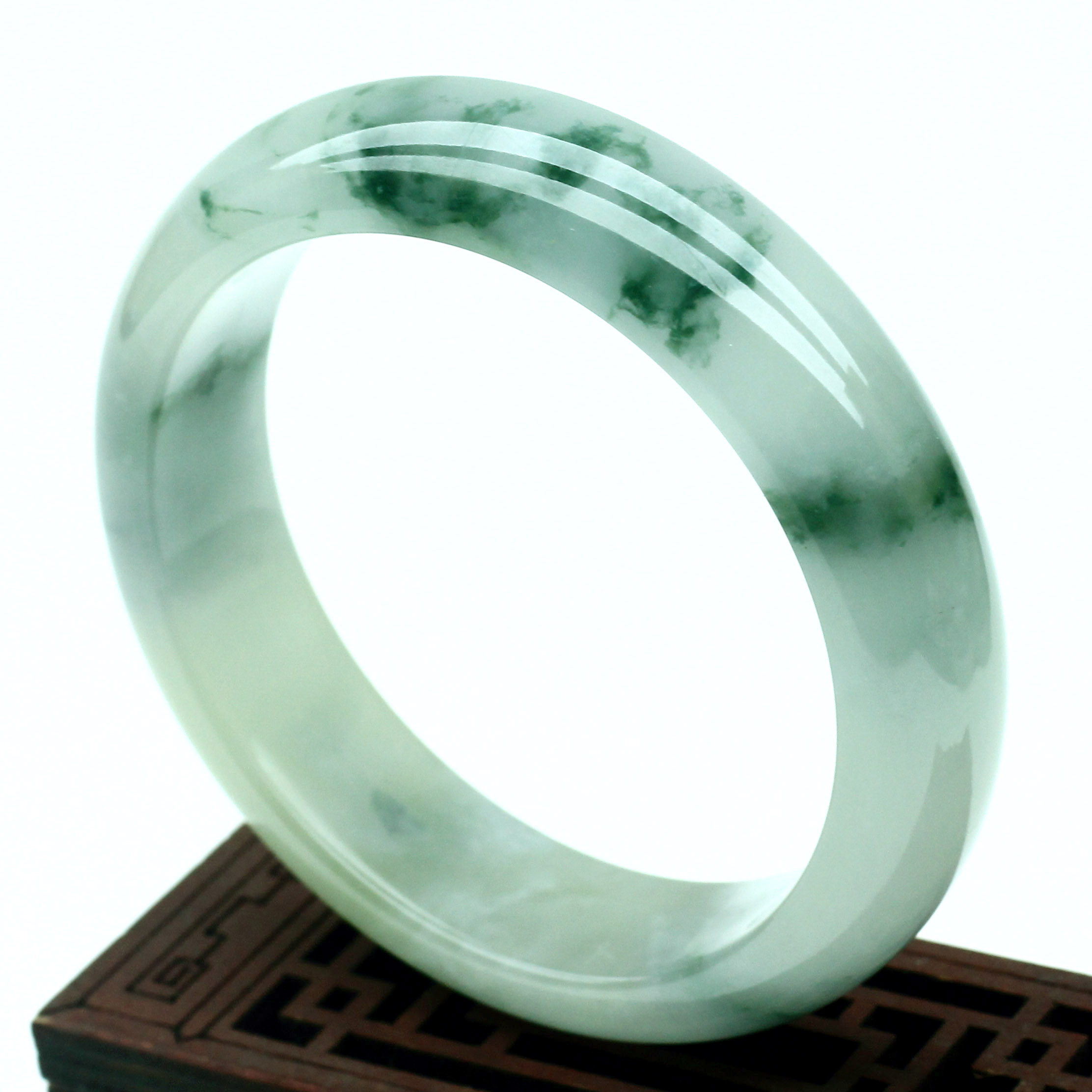 Laokeng genuine natural Myanmar jade jade bracelet ice waxy oil green floating flower green jade bracelet jade jade for mother
