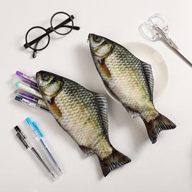 抖音同款仿生鱼笔袋韩国创意鲜活海鱼个性鲫鱼学生文具袋咸鱼笔包图片