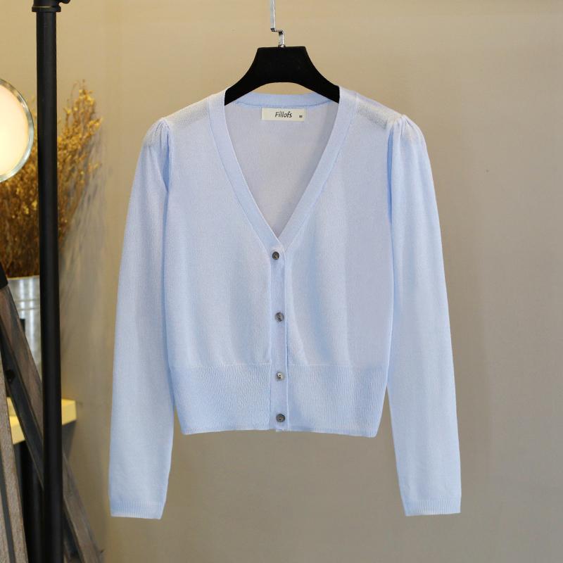 防晒开衫女冰丝针织衫夏季大码超薄修身长袖短款空调衫小披肩外套