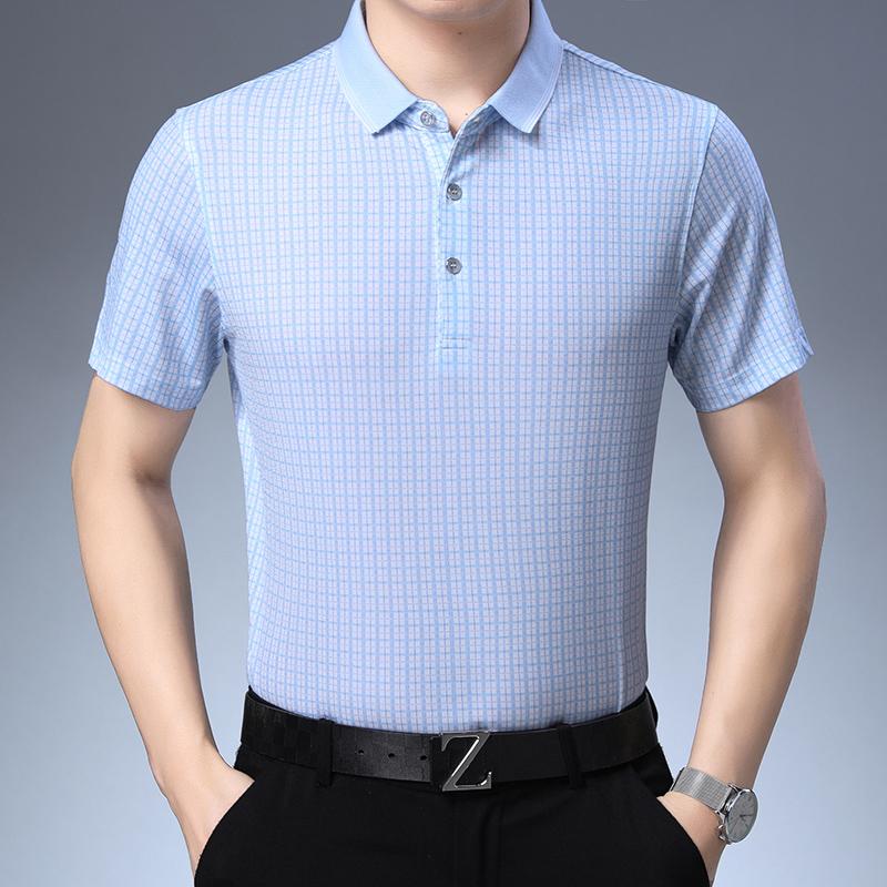 QT2013 D9908 P65 19夏款衬衫男纯色商务休闲格子短袖衬衫