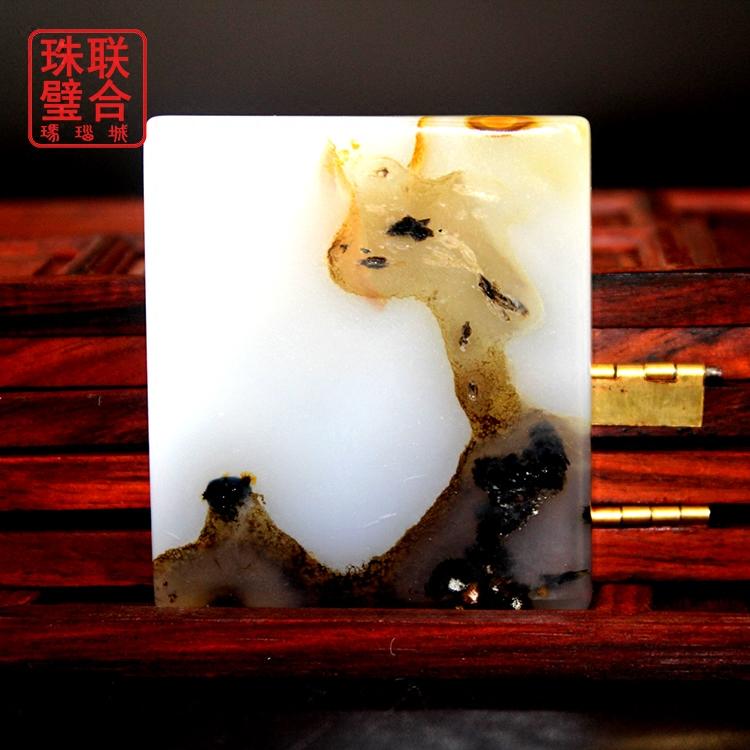 精品马料海洋玛瑙天然像形状梅花鹿福禄寿自然美景小鹿方牌挂坠子