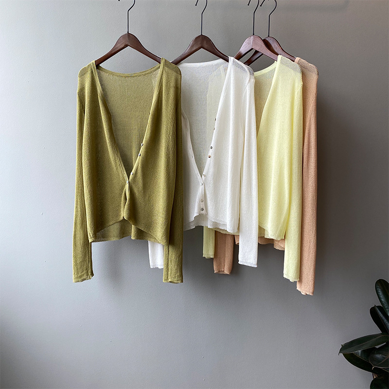 Spring and summer 2020 new sunscreen thin knitwear cardigan deleted womens top thin long sleeve lazy air conditioning jacket