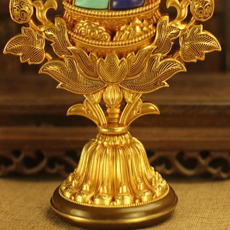 藏式密宗法器尼泊尔八吉祥组合纯铜大号八宝摆件八瑞物供奉供品 Изображение 1