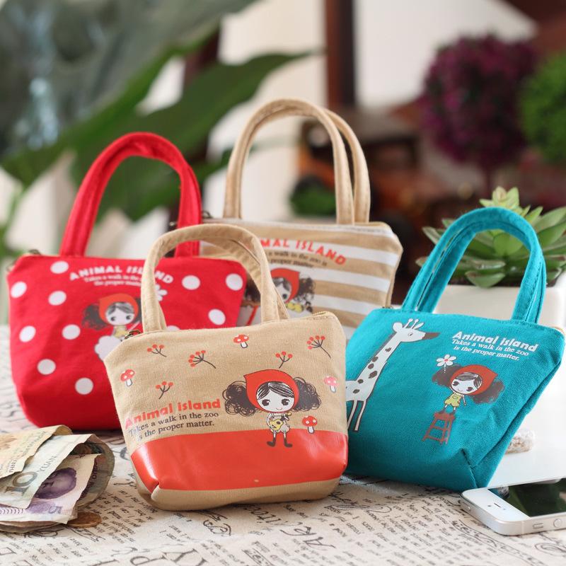 韩国可爱普拉女孩手拎帆布零钱包 卡通布艺钥匙包 居家购物硬币包