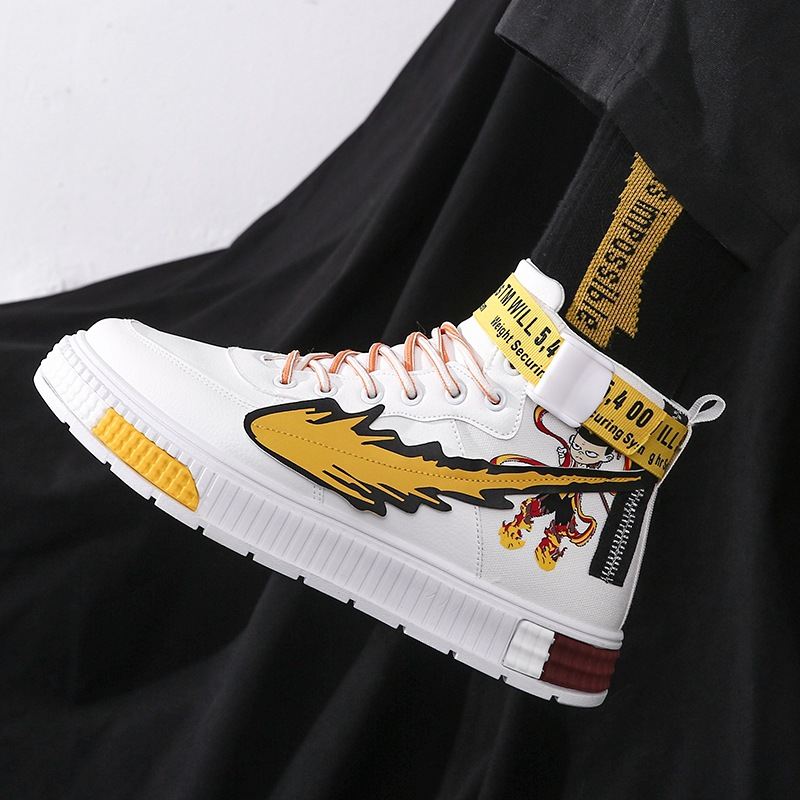 Hong Kong Style Mens new lace up high top board shoes in autumn and winter 2020