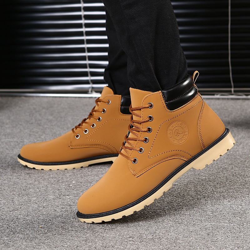Hong Kong Style Mens autumn and winter 2020 outdoor Martin boots mountaineering hiking mens shoes sports British casual shoes high top boots