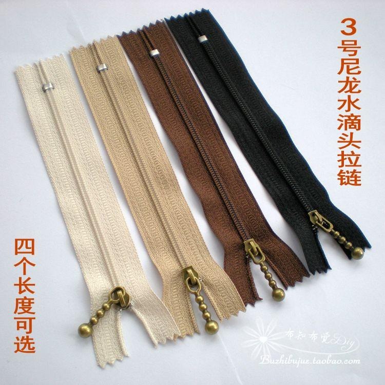 No.3 nylon zipper water drop zipper head 3 ? hand bag zipper closed tail 12cm15cm20cm25cm