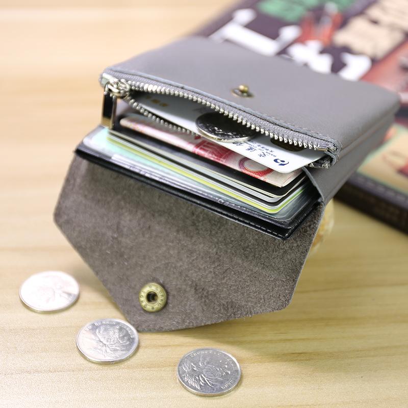 手工女迷你硬币包学生小钱包女士真皮双层搭扣卡包女短款零钱包女限8000张券