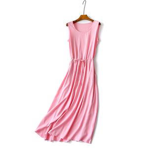 纯色文艺气质棉绸连衣裙丝麻沙滩裙