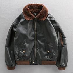 空军飞行员加绒加厚皮衣男保暖羊羔毛秋冬毛领机车皮夹克棉衣外套