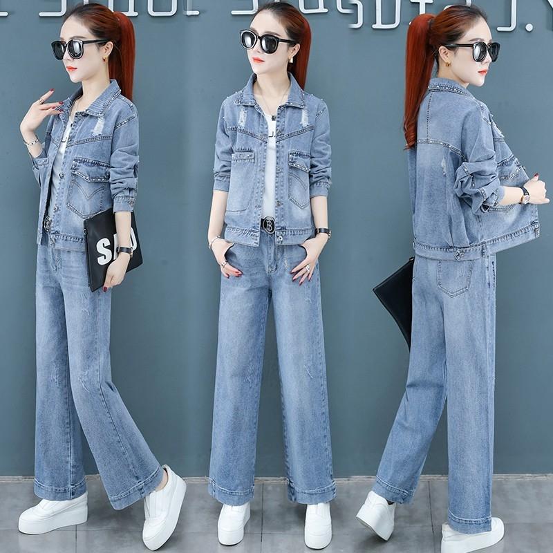 春秋夏季2020新款女装牛仔阔腿裤洋气减龄显瘦潮两件套装气质时尚
