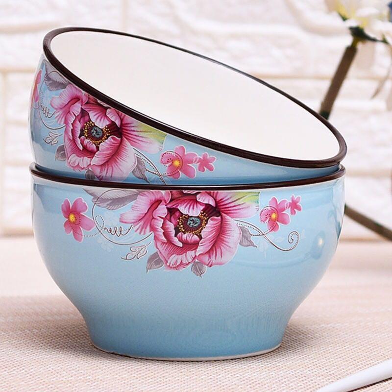 6インチリピートボウル2つのボウルにファッショナブルな色釉をセットした家庭用セラミックカップラーメン椀食器セット