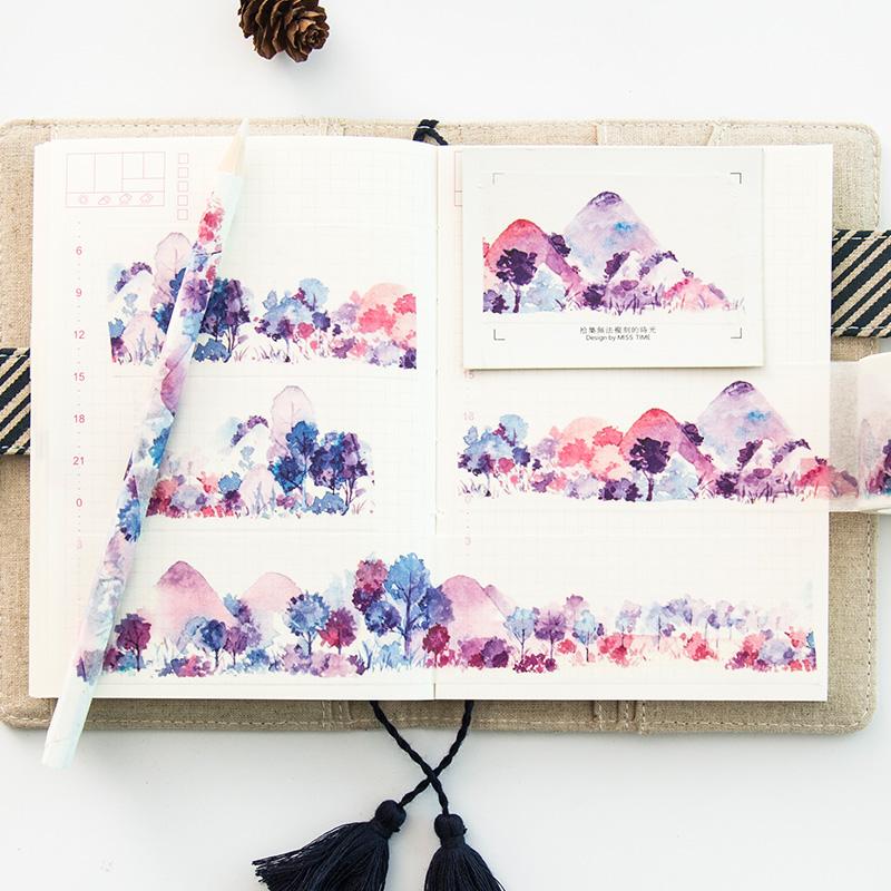 纸染彩色手账手杖手撕和纸胶带手帐胶带贴纸diy装饰 梦之森 宽4cm