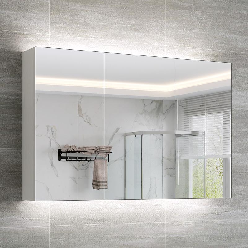 限6666张券北欧多层实木浴室镜柜防水现代简约卫生间镜箱厕所壁挂储物收纳柜
