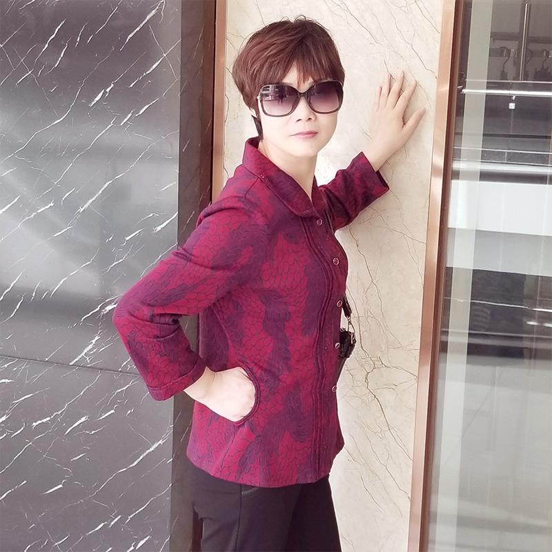 依世福贵品牌衬衫中老年大夕阳红胖妈妈2018秋季款女装外套上衣女