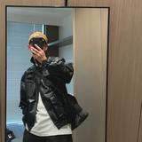 Hello.JY 复古小生帅气工装皮衣多口袋韩版皮外套2020宽松男皮衣