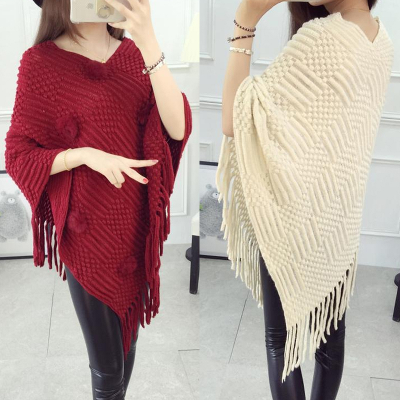 Early autumn womens Korean loose tassel shawl sweater coat large size knitted Cape Batman shirt with Pullover