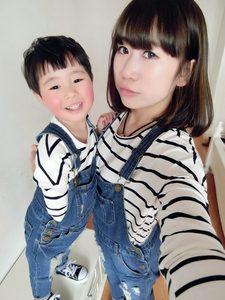 亲子装春装新款亲子T恤小童纯棉韩版条纹长袖T恤母女母子装潮