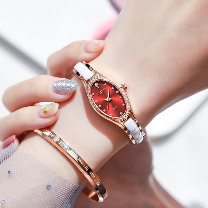 スイス正ブランド金仕盾腕時計女性時計陶磁器ブランド石英時計防水潮流ins風学生