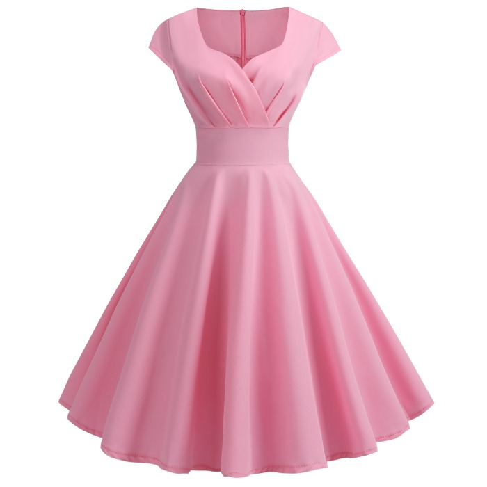 夏季新款欧美复古风气质小V领短袖大摆纯色连衣裙中裙礼服裙DRESS正品保证