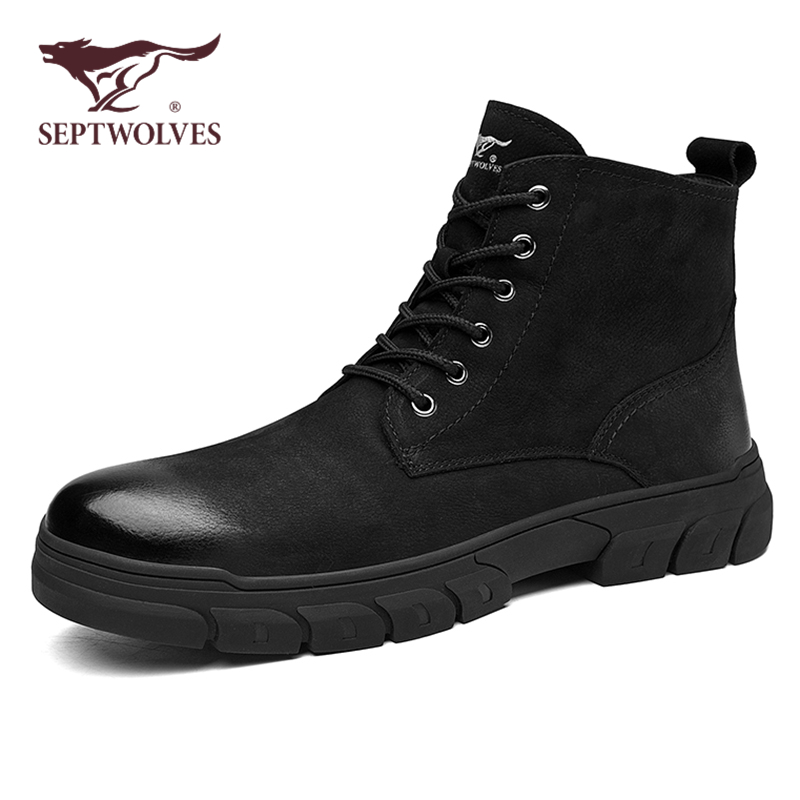 Seven wolves Martin boots men tooling boots high top British style autumn boots men leather black men winter men's shoes
