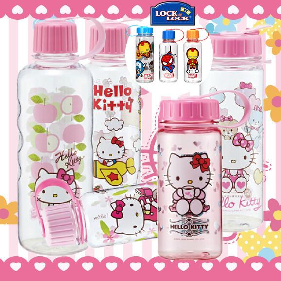 正品乐扣乐扣hello kitty水杯运动便携防漏水壶卡通儿童水瓶