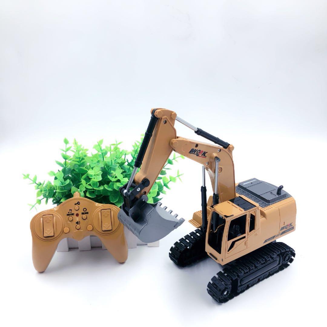 奥海8通道遥控挖掘机工程车无线合金挖土机儿童男孩电动玩具车