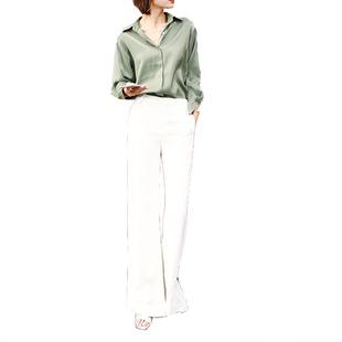 J.菲菲studio蔣走路帶風大長腿輕熟風ol職業裝襯衫女闊腿褲套裝秋