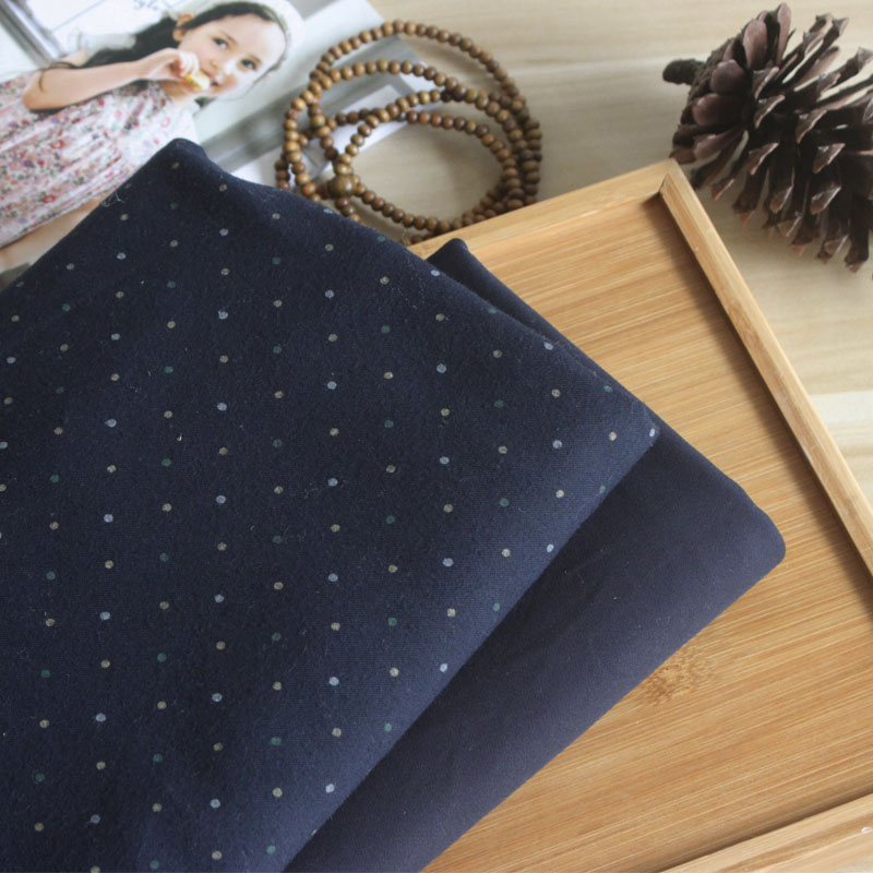 Frosted dark blue dot solid autumn and winter shirt dress robe fabric art handmade clothing fabric