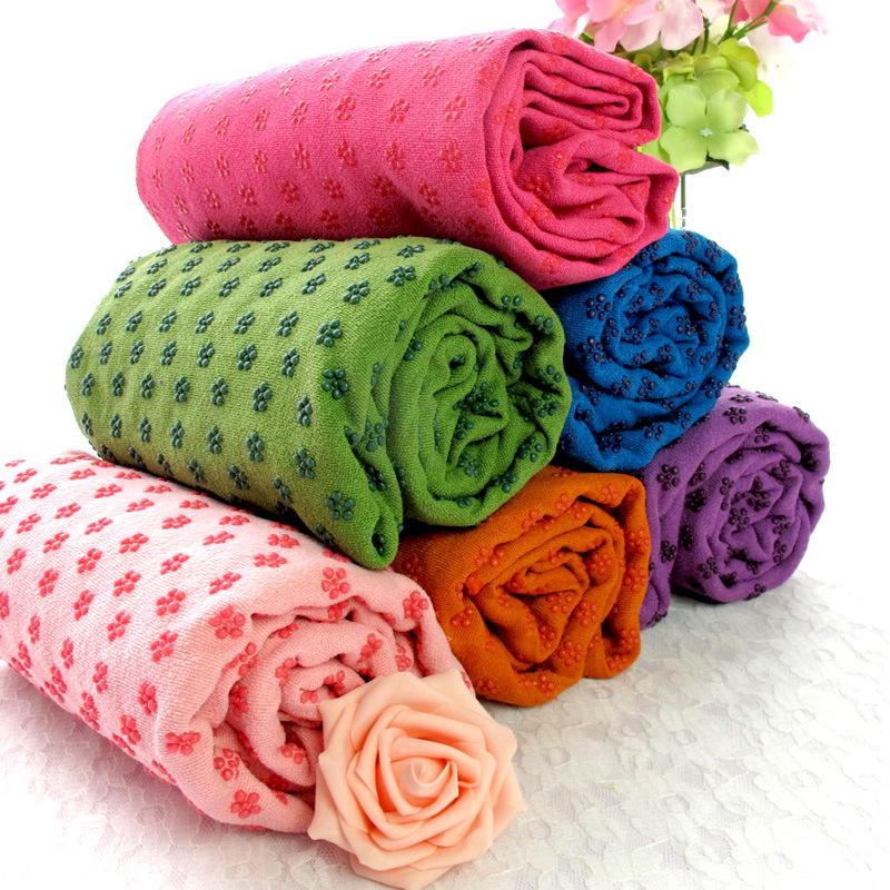 瑜伽馆高档防滑瑜伽垫巾卫生铺巾 瑜伽毯子送网袋 专用防滑瑜珈垫