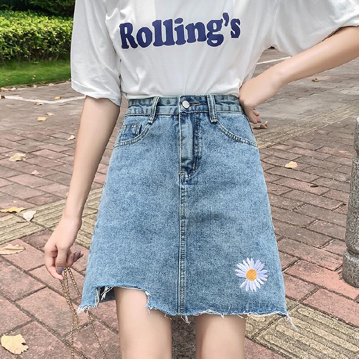 牛仔半身裙女夏季2020新款小雏菊短裙9100/9100-1P35