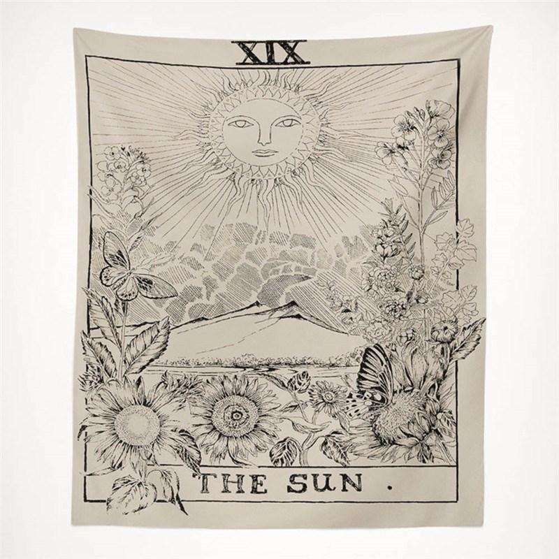 复古太阳星星月亮墙壁装饰挂毯卧室客厅背景布桌布隔断墙布挂布假一赔三