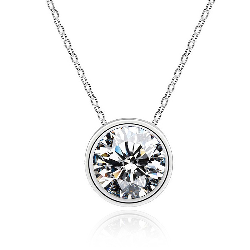 Simple Round Pendant plated S925 Silver Necklace Japanese and Korean single diamond simple fashion style present for girlfriend