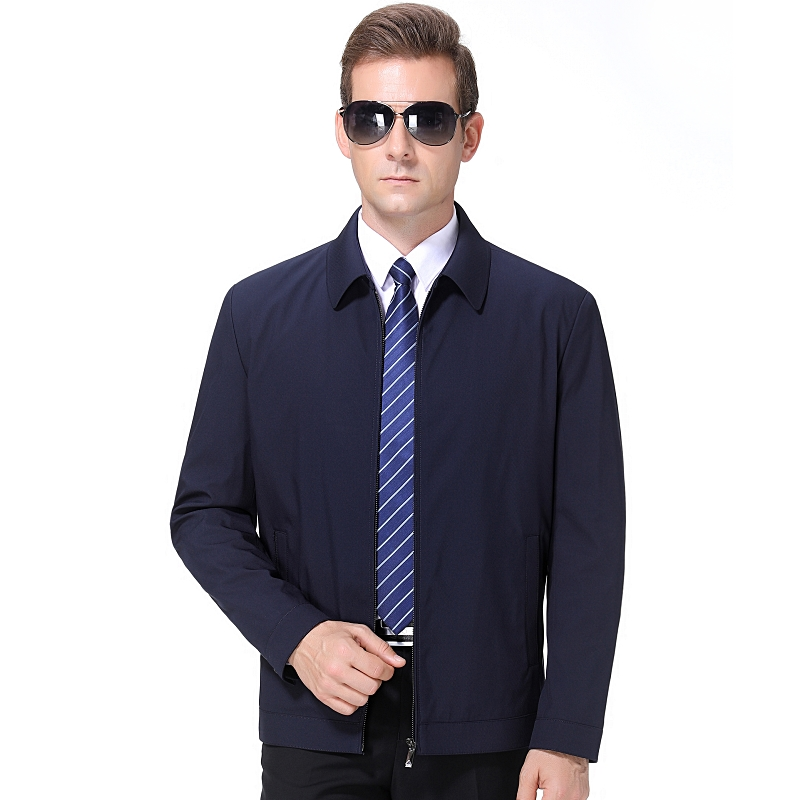 Qipai mens jacket jacket 2020 spring new middle-aged mens business leisure Lapel solid color jacket