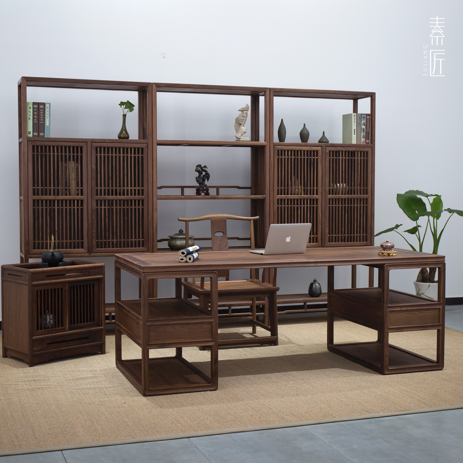 New Chinese style Zen painting and calligraphy table old elm desk office desk solid wood black walnut study furniture