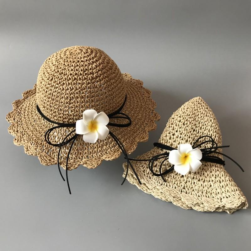 韩版女童凉帽女孩遮阳帽折叠公主宝宝沙滩帽婴亲子婴儿童草帽包邮