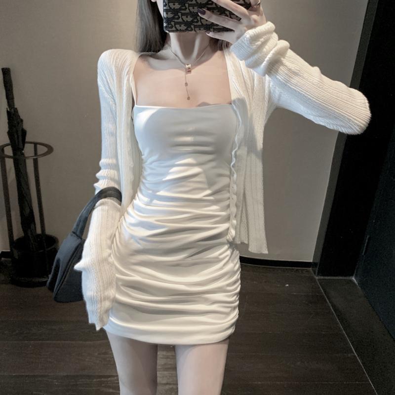 2021新款女装秋装套装裙子紧身包臀性感修身吊带连衣裙两件套女夏