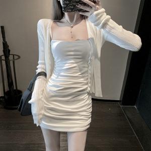2021新款女装夏季套装裙子紧身包臀性感修身吊带连衣裙两件套女夏